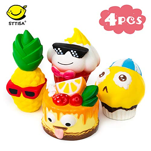 SYYISA Jumbo Squishies Slow Rising [4-Pack]: Sunglasses Pineapple, Tongue Cake, Sad Cake, and Sunglasses Boy Kawaii Soft Funny Squishy Toys - Squishys are Great Sensory Toys for Kids! Comes in Mix