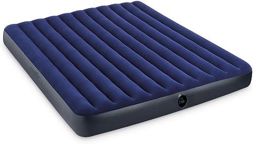 BAIJ Lit Gonflable jumeau de Matelas d'air de Camping de Taille de Reine avec la Pompe électrique de ménage de Voiture, Flocage de PVC, pour la Maison ou l'extérieur,bleu,191x137x22cm