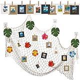 CINVEED Filet Peche de Décoratif Photo,Cadre Photo en Papier Bricolage,Photo Cadres Mural avec Filet Peche de Pinces de Crochets de Feuilles Fleurs pour Famille de Fête de Photographie et Restaurant