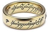 Herr der Ringe Unisex-Ring 'Saurons Ring' aus dem kleinen Hobbit Wolfram PVD vergoldet 3009-052