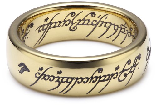 "Herr der Ringe Unisex-Ring ""Saurons Ring"" aus dem kleinen Hobbit Wolfram PVD vergoldet 3009-052"