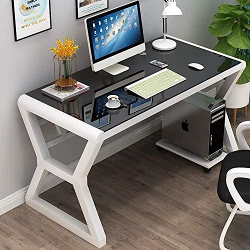 FANLIU Glas-Computer-Schreibtisch, großer Einfacher Computertisch, Metallrahmen Büro-Schreibtisch-Studie Writing Laptop-PC-Workstation Assembly (Color : C-80x60x75cm(31x24x30))