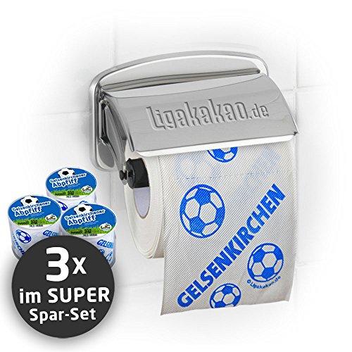 Klopapier Schalker Abpfiff (3 Rollen XL-Sparpack)| Dieses Toilettenpapier Macht das Klo von Dortmund-, Bayern- & Fußball-Fans zur Schalke-Kultschüssel | Geschenkidee für Männer & Freunde