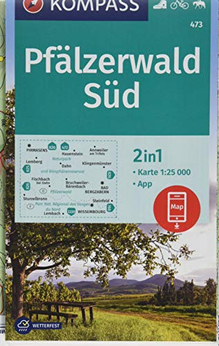 KOMPASS Wanderkarte Pfälzerwald Süd: 2in1 Wanderkarte 1:25000 inklusive Karte zur offline Verwendung in der KOMPASS-App. Fahrradfahren. Reiten. (KOMPASS-Wanderkarten, Band 473)