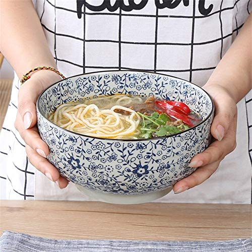 LIXUE Céramique Grande Soupe Ramen Noodle Bol Salade de fruits Bol de céréales Creative Mixing Bol de service Four Micro-ondes Safe Bleu et blanc