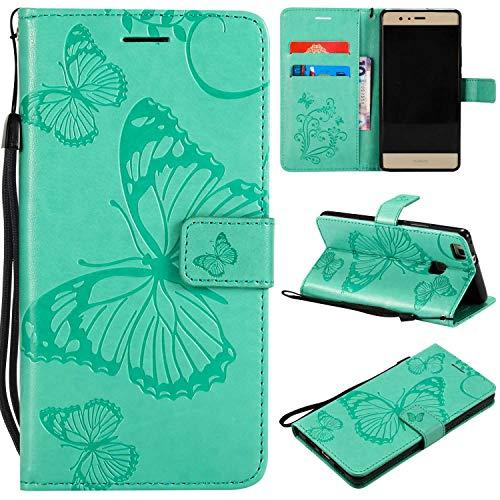 THRION Huawei P9 Lite Hülle, PU Schmetterling Brieftaschenetui mit magnetischer Handschlaufe und Ständerhalterung für Huawei P9 Lite, Grün