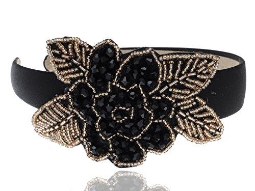 ALILANG Damen Single schwarz Perlen Blume Gold Blatt Weit Haarband Haarreifen