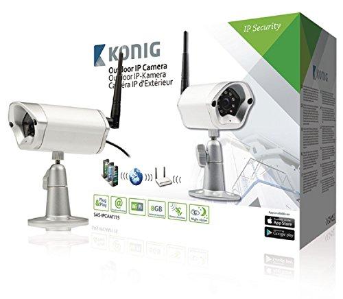 König SAS-IPCAM115 Telecamera IP Colore per Esterni per La Videosorveglianza a Distanza, Argento