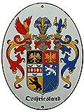 Ostfriesland Emaille Schild Ostfriesland 28,5 x 37,5 cm Emailschild Oval.