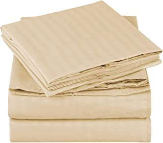Mellanni Striped Bed Sheet Set - Brushed Microfiber 1800 Bedding - Wrinkle, Fade, Stain Resistant - 3 Piece (Twin, Beige)