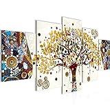 Runa Art - Quadri Gustav Klimt Albero Della Vita 200 x 100 cm 5 Pezzi XXL Decorazione Murale Design Colorato 004651a