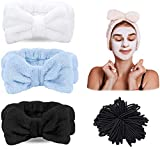 3 piezas de diadema mullida + 100 bandas de pelo bobbles para lavar la cara, diadema de maquillaje elástico Macllar, diadema de spa, banda de pelo negra, bobbles