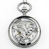 XIAOJIAN Exquisito Reloj de Bolsillo: Reloj de Bolsillo, Vintage Unique Bronce Volando Hombre Mecánico Hombres Fob Cadena Hollow Horse con Wing Steampunk PocketComodity Código: LXJ - 140