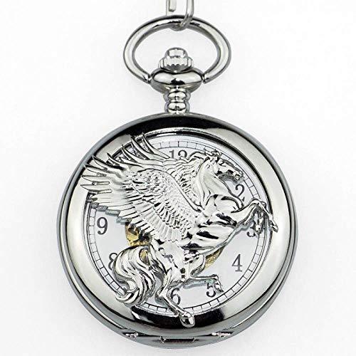 LYMUP Reloj de Bolsillo, Vintage único Bronce Volando Caballo Hombre mecánico Cadena Hueco Caballo con Bolsillo de ala,Vapor (Color : Silver)