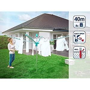 Leifheit Wäscheschirm Linomatic 400 Easy, Leineneinzug für saubere Wäsche, Wäschespinne mit Easy-Lift-System, inkl. Bodenhülse, Wäscheständer mit 40 m Wäscheleine für 4 Wäscheladungen, made in germany