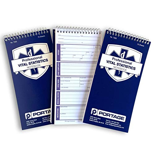 "EMT/First Responders Vital Statistics Notebook – 8"" x 4"" Medical Notebook for Vital Signs and Additional Patient Information – 210 Pages (3 Pack)"