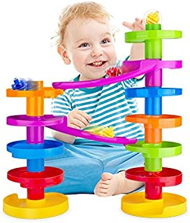 WEofferwhatYOUwant Ball Drop Educational Toy with Bridge - Advanced Spiral Swirl Ball Ramp Activity Playset for Toddlers