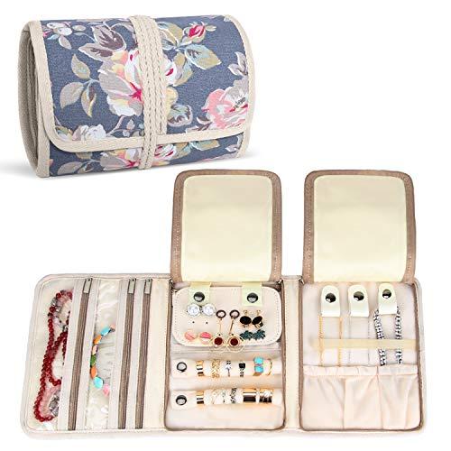 Teamoy Roll para Joyería Organizador de joyas Estuche de viaje para collares, pendientes, pulseras, broches, 3 carpetas, varios departamentos, peonía