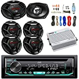CD/MP3/WMA Receiver Bundle Combo with 2x 6x9' 3-Way 500W Max Power Stereo Speakers, 4x 6.5' 2-Way Coaxial Car Audio Speaker, Pyle 400W 4-Chan Bluetooth Amplifier w/ Installation Kit