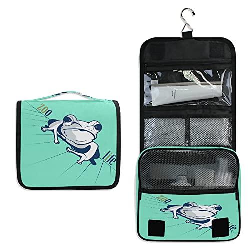 Grenouille Cyan Trousse de Toilette à Suspendre Rangement MaquillageSac Voyage Portable Pliable Salle de Bain Trousse de Cosmétique pour Femmes Filles
