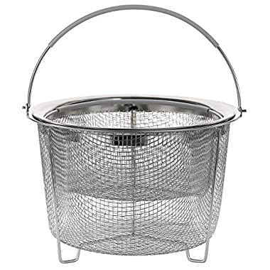 Aoizta Double Tier Stackable Steamer Basket for Instant Pot Accessories 6/8 qt, 18/8 Stainless Steel Mesh Strainer Basket for Vegetables, Eggs, Meats, etc