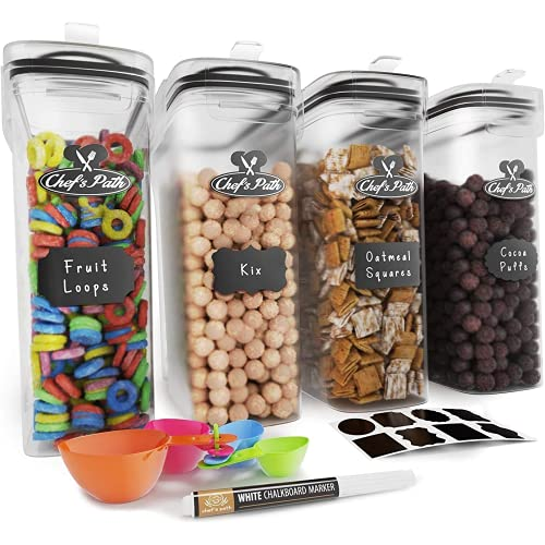 Iiszwd La Memoria del contenedor de Cereales es un contenedor de Almacenamiento de Alimentos hermético, 8 Etiquetas, cucharas,