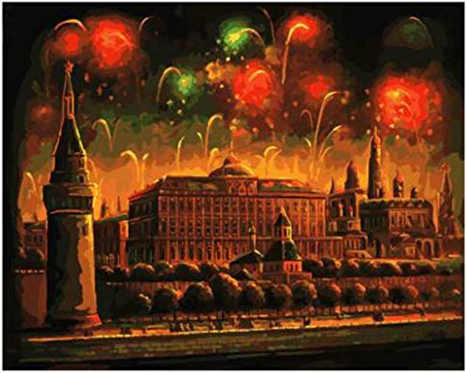 UPUPUPUP Fireworks Diy Painting By Numbers Abstract Night Palace Oil Painting On Canvas Acrylic Home Decor Gift,Tworidc550X70Cm Framed