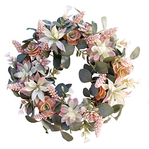 XHZY 17 Inch Simulation Succulent Garland Holiday Wreaths,Artificial Spring & Summer Wreath,Door Backdrop Ornaments, Home Décor (Style A)