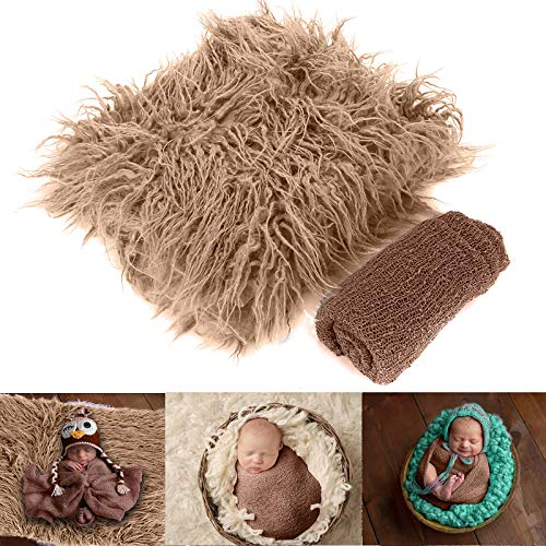 Yuehuam Newborn Baby Photo Props, Fluffy Blanket+ Ripple Wrap Set Toddler Photography Wrap Mat DIY Baby Photoshoot- Khaki