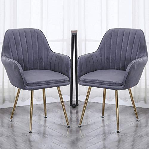 ZYXF Conjunto de 2 Sillón Sillas Cocina con Patas Metal Resistentes Terciopelo Sillas Comedor Sillas de recepción con Respaldo y Asiento Acolchado for sillas Restaurante (Color : Dark Gray)