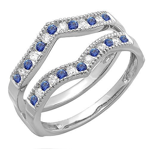 Dazzlingrock Collection 10K White Diamond & Blue Sapphire Ladies Millgrain Anniversary Wedding Guard Ring, White Gold, Size 7