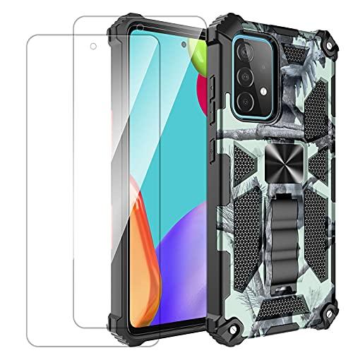 Funda con diseño de camuflaje para Samsung Galaxy A52 5G, con soporte, anillo de metal, soporte magnético, funda protectora con 2 protectores de pantalla de cristal templado (A52, C)