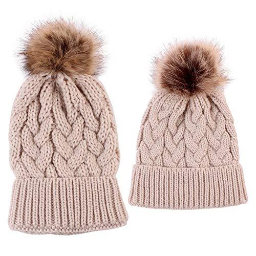 SDCVRE Sombrero de Invierno 2 Piezas de Sombreros de pompón de Piel de bebé de mamá Gorros de Lana de Punto de Ganchillo de Invierno cálido Gorros de Gorros de Color sólido para Mujeres niños