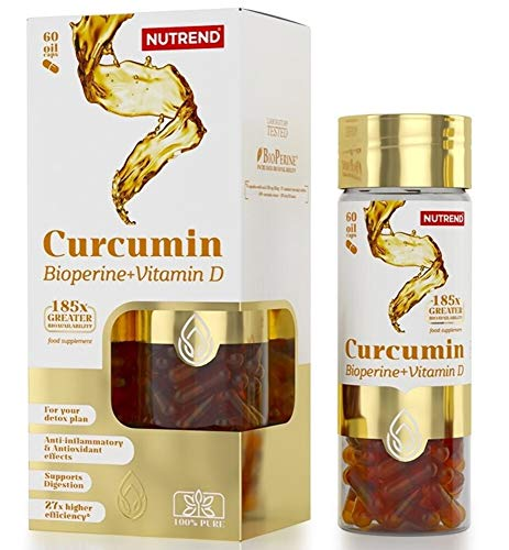 CURCUMIN + BIOPERINE + VITAMIN D by Nutrend 60 Caps antioxidant effects, is inflammable, supports digestion and is an ideal product for detox plans