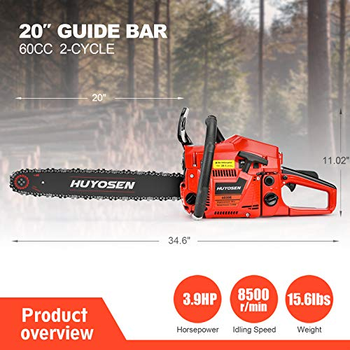 HUYOSEN 60CC 2-Stroke Gas Powered Chainsaw, 20-Inch Chainsaw, Cordless Handheld Gasoline Power Chain Saws for Cutting Trees, Wood, Garden and Farm(6020E)