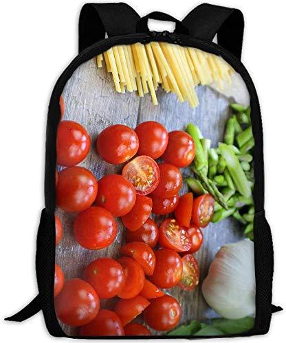 Sommer-Tomaten und Nudeln Adult Travel Rucksack Schule Bookbag Casual Daypack Oxford Outdoor Laptop-Tasche Computer Umhängetaschen