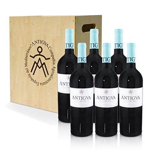 ANTIGVA Crianza 2018 - Vino Tinto Tempranillo Premium - D.O. Ribera del Duero - Caja de madera 6 Botellas x 750 ml