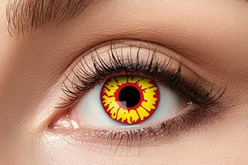 Zoelibat Farbige Kontaktlinsen für 12 Monate, Ork, 2 Stück, BC 8.6 mm / DIA 14.5 mm, Jahreslinsen in Markenqualität für Halloween, Fasching, Karneval, orange