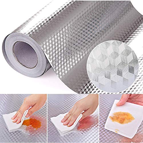 CHANMOL Kitchen Backsplash Stickers Wallpaper, Kitchen Stickers Self Adhesive Kitchen Aluminum Foil Stickers Oil Proof Waterproof Stove Sticker -15.6 x117inch