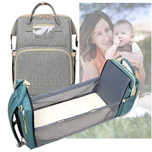 WishY Nappy Changing Backpack, Baby Diaper Bag Multi-Function Travel Bag,Changing Bag and Crib in One, Large Capacity with USB Chargin Port Changing Mat,Gray