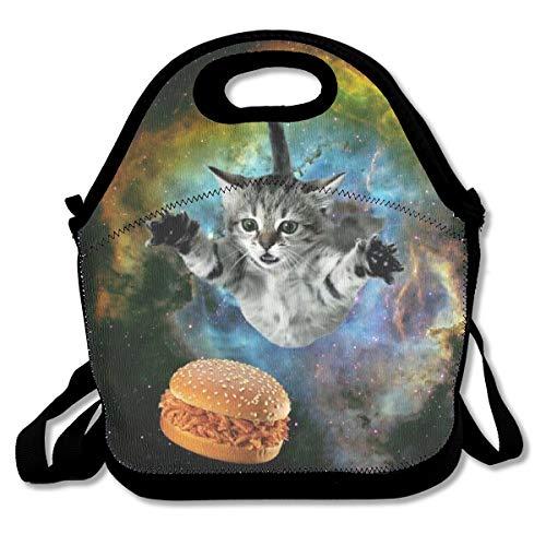 SARA NELL Neoprene Cat Unicorn in Galaxy Lover Burger Lunch Bag Insulated Cat Unicorn Lunch Backpack Lunchbox Handbag with Adjustable Shoulder Strap Best Gift for Men Women Teen Boys Girls