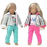 K.T.Fancy 2 Sets American 18 Inch Girl Doll Clothes Winter Outfits Set Including 2 Pcs Puffer Jacket with Hood, 2 Pcs Trousers , 2 Pcs T-Shirts fit for 14-18 Inch Dolls