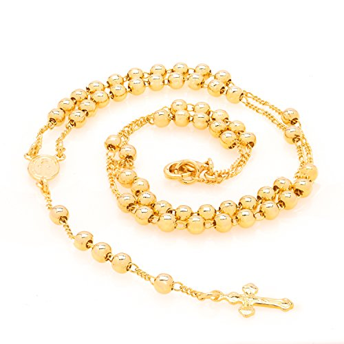 LIFETIME JEWELRY Small Rosary Necklace [ Prayer Beads ] 24K Real Gold Plated