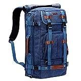 WITZMAN Canvas Backpack Vintage Travel Backpack Large Laptop Bags Convertible Shoulder Rucksack (A519-1 Classic Blue)