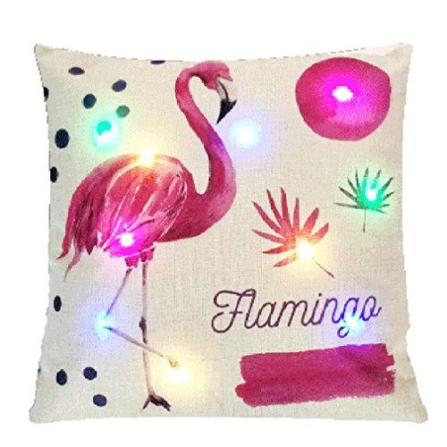 Nunubee Kissenbezug LED Bunte Lichter Flamingo-Muster Party Urlaub Dekoration Leinenmaterial Lendenkissen Kopfkissen Dekokissen Canape Deko, Flamingos 5 45 * 45CM