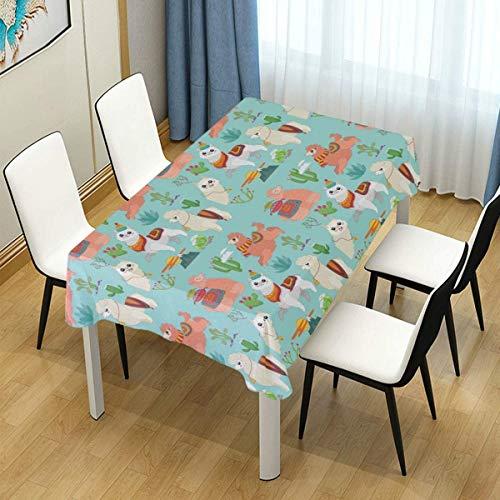 XXDD Mantel único Lindo e Interesante Alpaca Camel Cactus Rectangular Mantel de Mesa de Cocina diseño de decoración A1 140x140cm