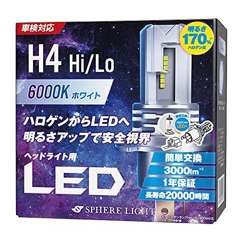 スフィアライト 車用 LEDヘッドライト H4 Hi/Lo カラー6000K/純白色 明るさ3000lm 車検対応 SLASH4060