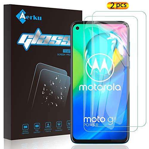 Aerku Protector de Pantalla para Motorola Moto G8 Power[2 Piezas],9H Dureza Alta Sensibilidad 2.5D[Sin Burbujas] Cristal Templado Protector de Pantalla para Moto G8 Power[Transparente]