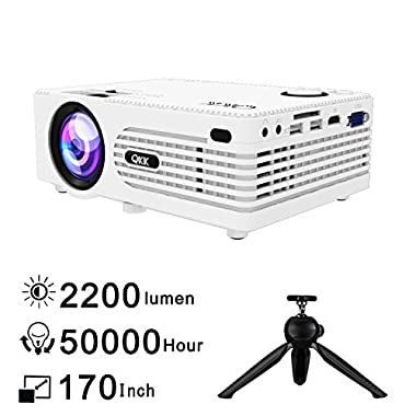 QKK [2018 Upgraded] Home Theater Mini Projector - Full HD LED Video Projector 1080P Supported, 50,000 Hour Lamp Life with 170  Display for Home Entertainment, HDMI,TV,SD Card,AV,VGA,USB x2,iPhone,iPad