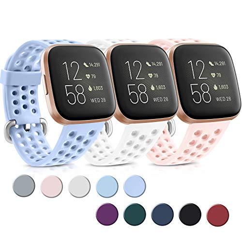 Yandu 3 Pack Kompatible Für Fitbit Versa Armband Fitbit Versa 2 Armband, Atmungsaktiv Sport Verstellbares Ersatzbänder für Fitbit Versa 2 und Fitbit Versa (Weiß/Rosa/Violett, S)